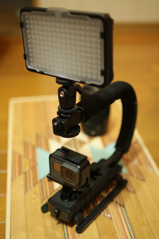 GoPro5 LEDライト ビデオグリップハンドル スケートビデオ 機材