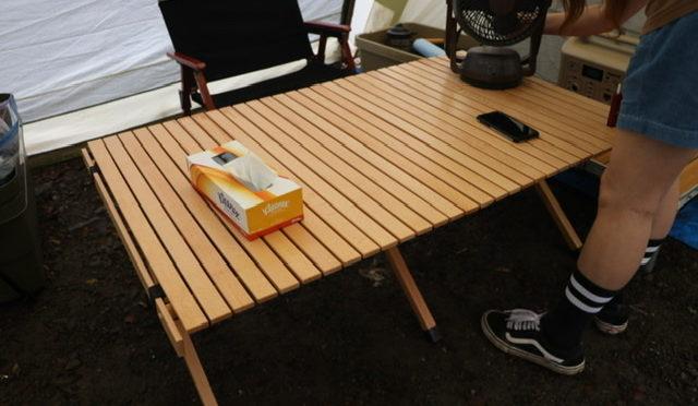 「FIELDOOR」ロールテーブル 折りたたみ 木製 120cmレビュー